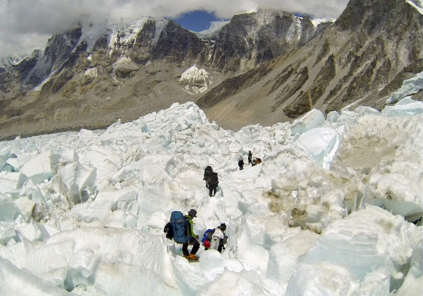 Climbers descend Khumbu Icefall in this photo from 2013.