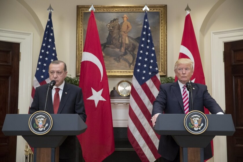 President Trump and Turkish President Recep Tayyip Erdogan deliver joint statements at the White House on May 16, 2017.