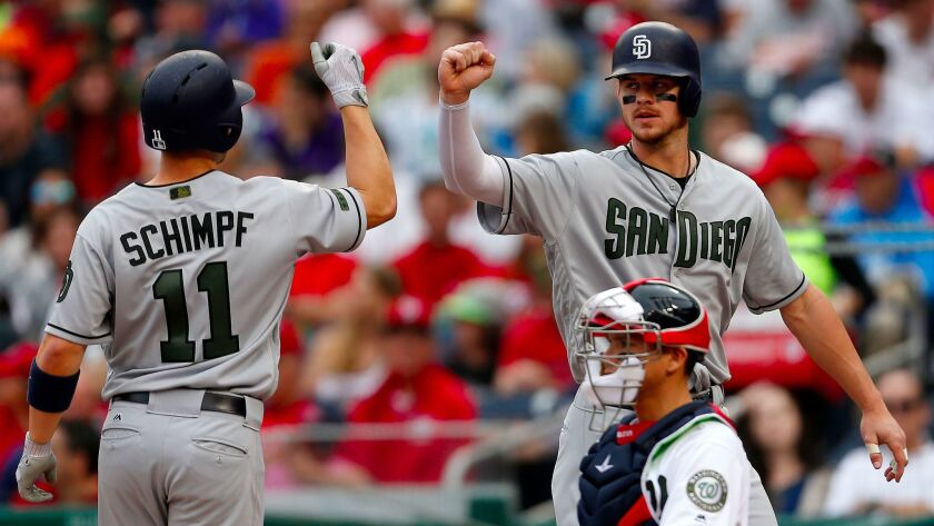 WASHINGTON, DC - MAY 28: Ryan Schimpf #11 of the San Diego Padres reacts with teammate Wil Myers #4