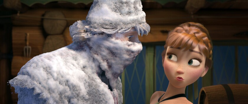 """Kristoff, voiced by Jonathan Groff, and Anna, voiced by Kristen Bell, appear in a scene from """"Frozen."""""""
