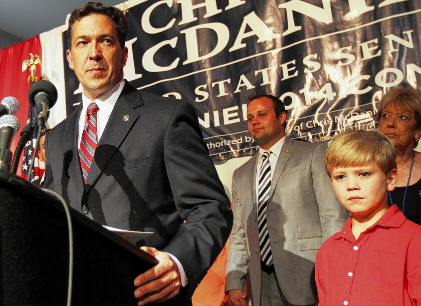 Chris McDaniel, addressing supporters during the June 24 GOP primary runoff for Sen. Thad Cochran's seat in Mississippi, is poised to launch an unprecedented legal challenge over the results.