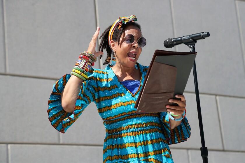 "Gwen Alexis, professor of African American studies at Cal State Fullerton, recites Margaret Walker ""For my people."""
