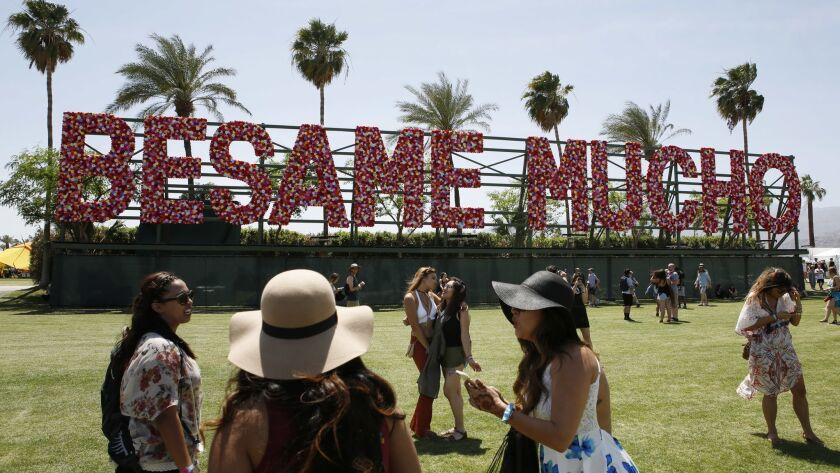 "INDIO, CALIFORNIA: April 15, 2016 - An art installation reading ""Besame Mucho"" at the Coachella Arts"