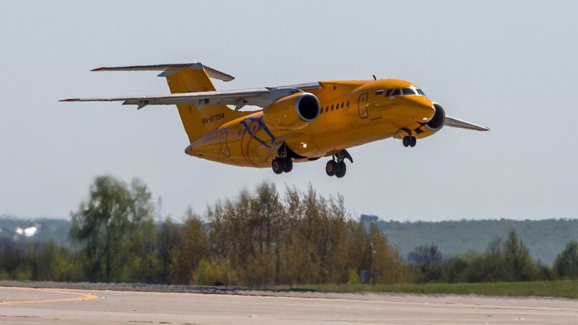 In this photo taken on Saturday, May 6, 2017, The Russian Saratov Airlines airline plane An-148 with