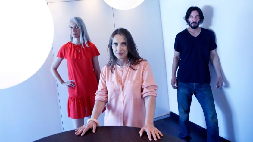 From left: artist Alexandra Grant, designer Jessica Fleischmann and actor Keanu Reeves, the creative forces behind X Artists' Books.
