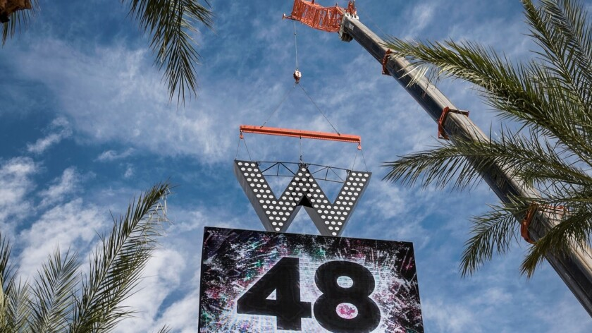 The W Hotel logo is placed atop the SLS Las Vegas marquee on the Las Vegas Strip on Friday, Oct. 14,
