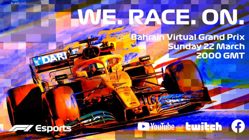 An ad for the Bahrain Virtual Grand Prix on March 22.