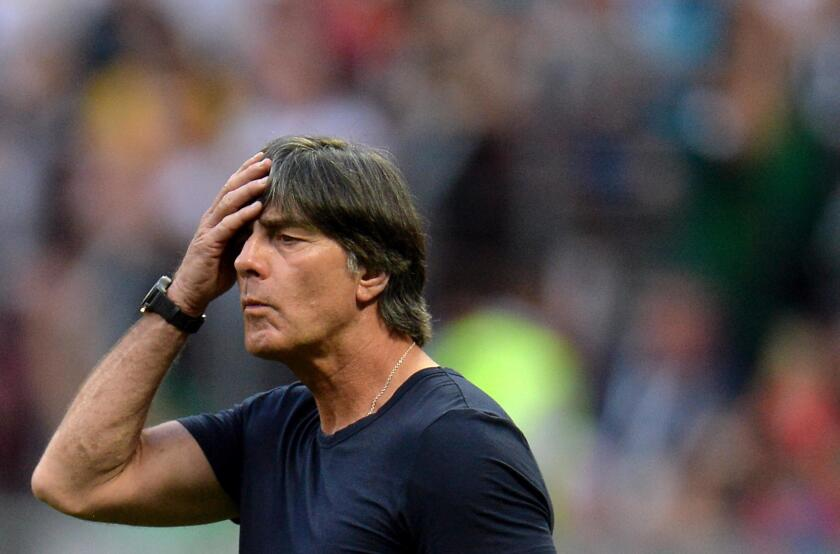 Germany's head coach Joachim Loew reacts during the FIFA World Cup 2018 group F preliminary round soccer match between Germany and Mexico in Moscow, Russia, 17 June 2018.