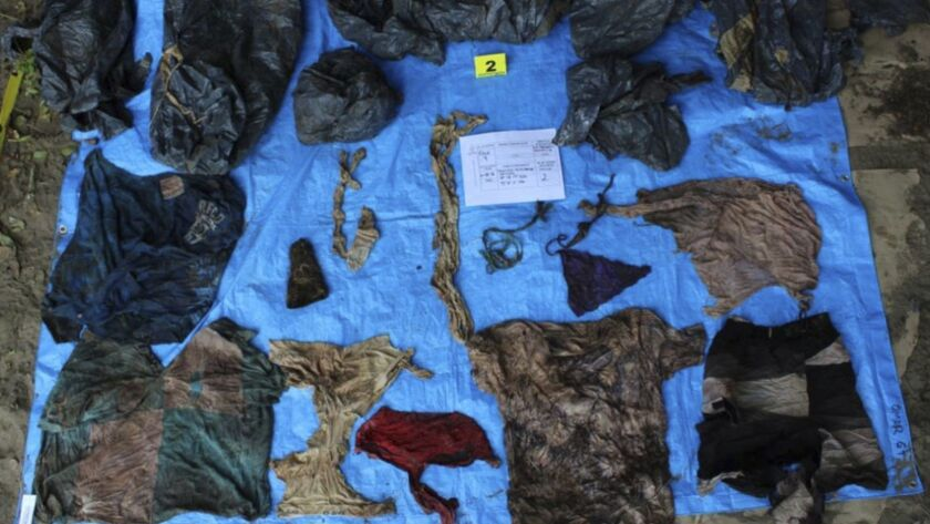 In this undated photo provided by the Veracruz State Prosecutor's Office shows clothing items found