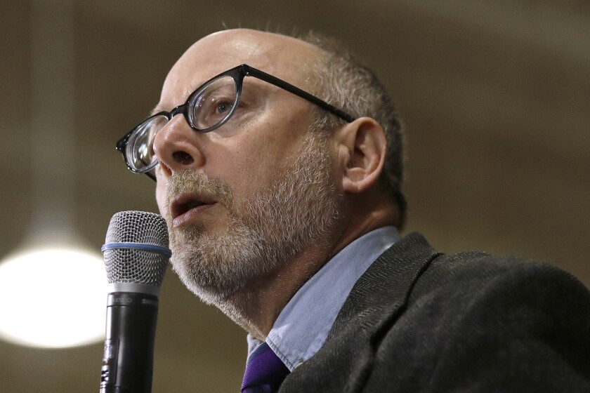 FILE - In this Jan. 18, 2020, file photo, Andru Volinsky speaks at a campaign event for Democratic presidential candidate Sen. Bernie Sanders, I-Vt., in Exeter, N.H. Volinsky is seeking the Democratic gubernatorial nomination in the Tuesday, Sept. 8, primary election. (AP Photo/Elise Amendola, File)