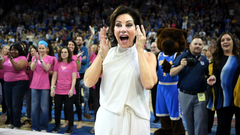 LOS ANGELES, CALIFORNIA MARCH 23, 2019-UCLA head gymnastics coach Valorie Kondos Field reacts as the