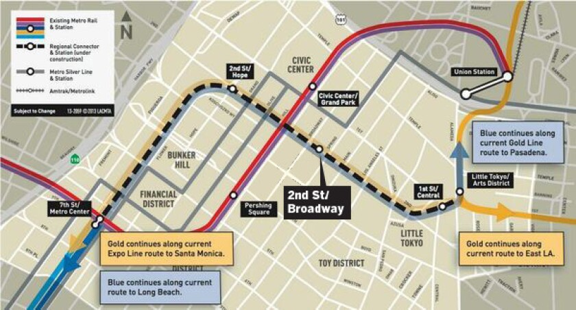 The planned route of the 1.9-mile Downtown Regional Connector, which will link the 7th Street transit hub with Union Station. (Metro Los Angeles / April 15, 2014)