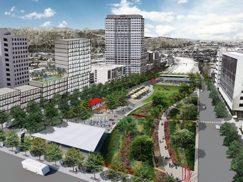 An artist's rendering shows what the Space 134 cap park could look like over the Ventura (134) Freeway between Brand Boulevard and Central Avenue.