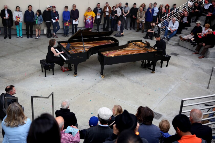 LOS ANGELES, CA-JUNE 1, 2019: Sarah Gibson, left, and Thomas Kotcheff, right, of Hocket, perform dur