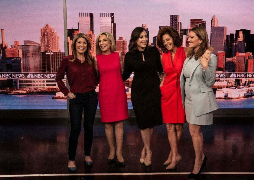 The five female anchors who now shape most of the daytime news programming at MSNBC are Nicolle Wallace, left, Andrea Mitchell, Hallie Jackson, Stephanie Ruhle and Katy Tur.