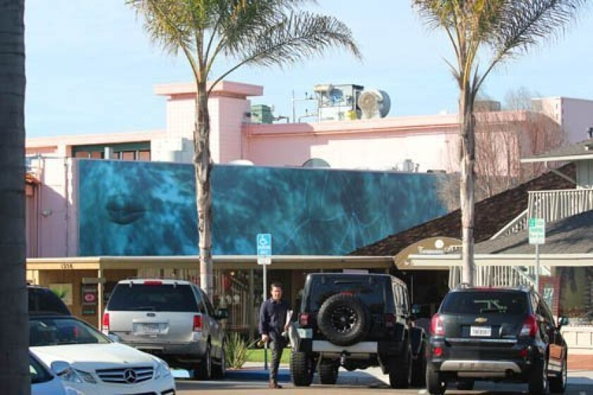 The 'Whale,' by Nina Katchadourian, peeks out from 1250 Prospect St. It is the 13th mural in a public art series commissioned by La Jolla Community Foundation. Pat Sherman