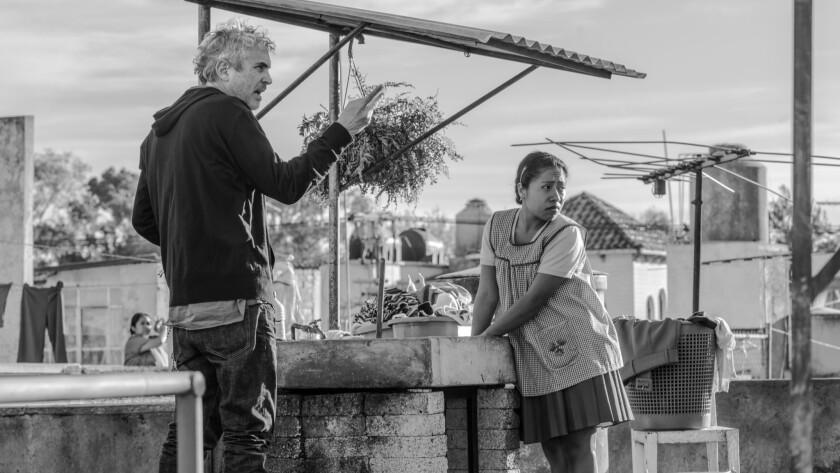 """Alfonso Cuarón on the set of his latest film, """"Roma."""" Could it earn Netflix its first Best Picture Oscar nomination?"""