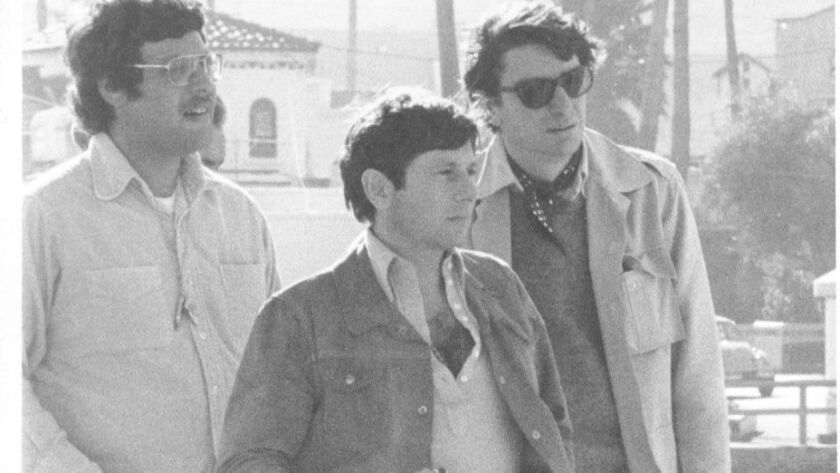 "Director Roman Polanski, center, and Richard Sylbert, right, on Catalina Island during the filming of ""Chinatown."""