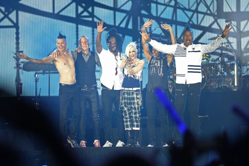 The band No Doubt salutes the crowd after headlining the first night of the Rock in Rio USA music festival in Las Vegas.