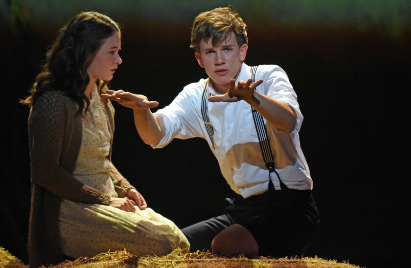 """Sandra Mae Frank and Austin McKenzie in Deaf West's revival of the Tony-winning musical """"Spring Awakening"""" at the Wallis Annenberg Center for the Performing Arts in Beverly Hills."""
