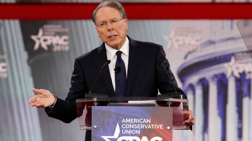 Wayne LaPierre, the CEO and executive vice president of the NRA, speaks at the Conservative Political Action Conference on Feb. 22.