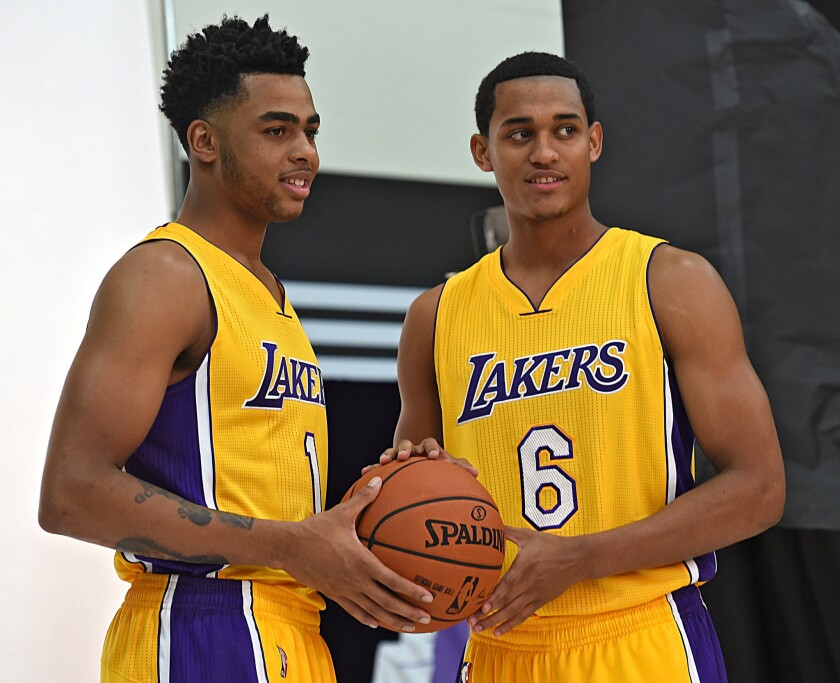 D'Angelo Russell, left, and Jordan Clarkson, shown in September, have been selected by the NBA to participate in the Feb. 12 Rising Stars Challenge.