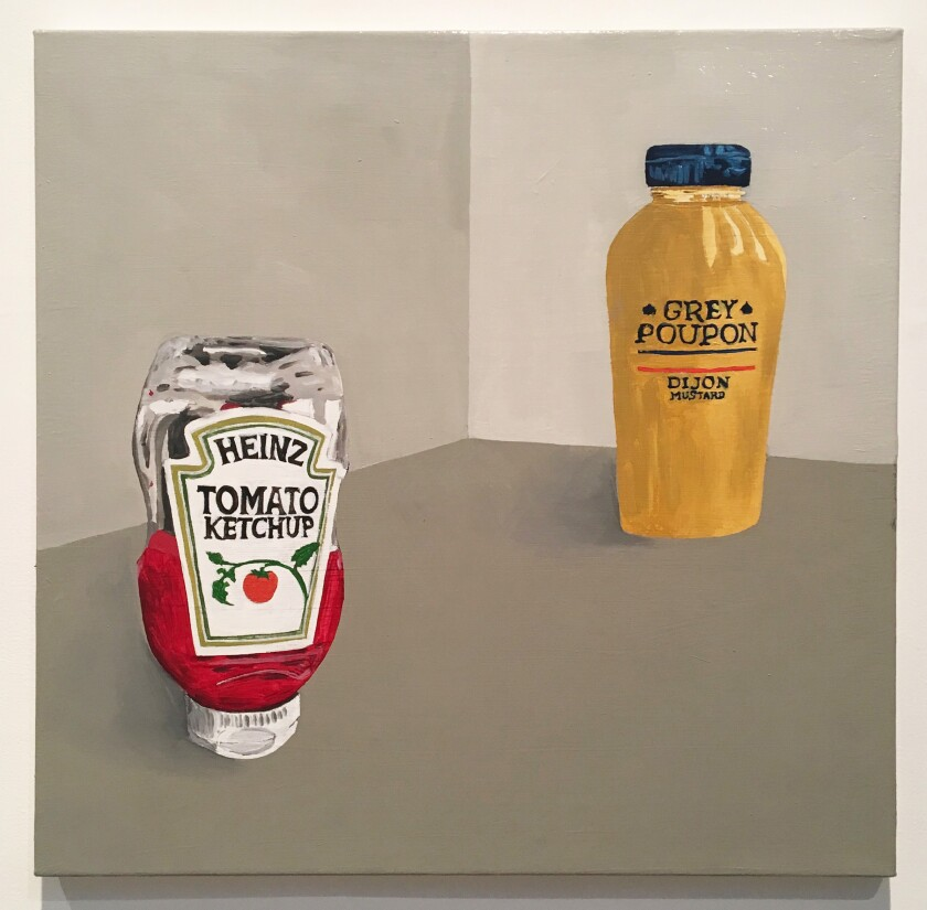 """Ketchup & Mustard"" by Robert Levine, 2019. Oil on canvas, , 18 inches by 18 inches."