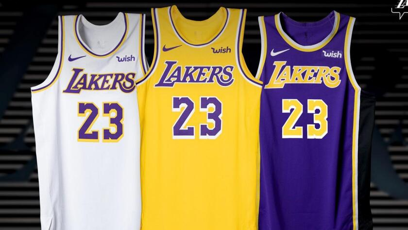 save off eb5b1 58ec1 Lakers unveil new uniforms with retro look to the 1980s ...