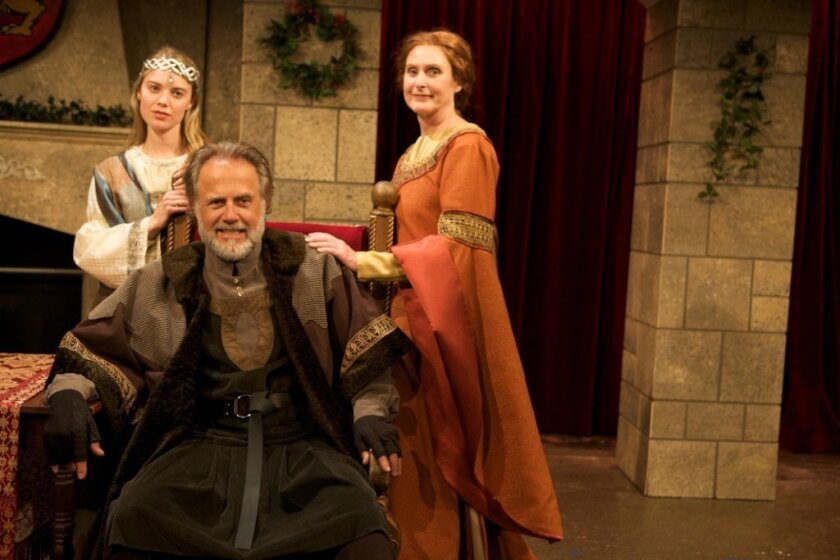 """Alexandra Grossi, Mark Pinter and Kandis Chappell (left to right) in North Coast Repertory Theatre's """"The Lion in Winter."""""""