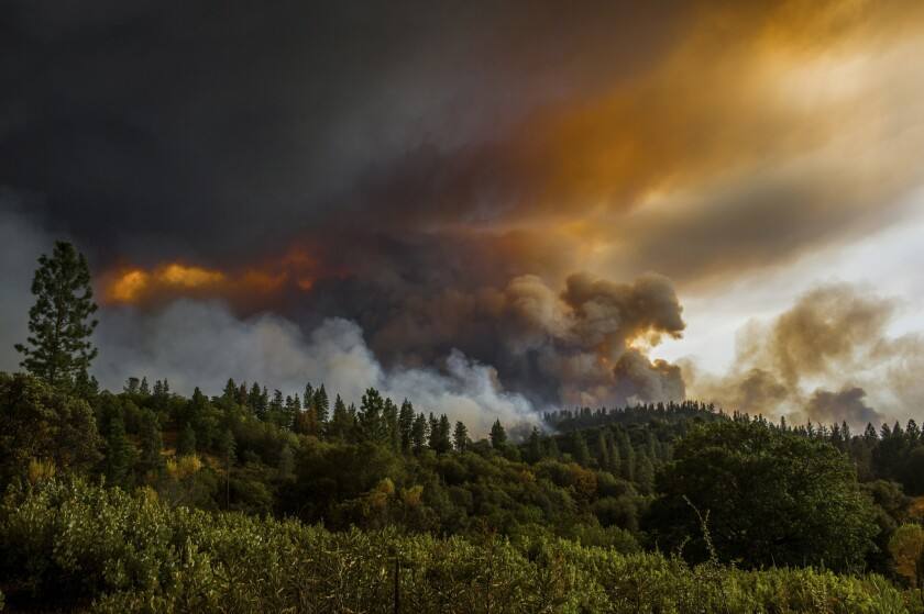 Smoke rises from a fire near Butte Mountain Road near Jackson, Calif., in September 2015. The fire burned 70,868 acres over 22 days.