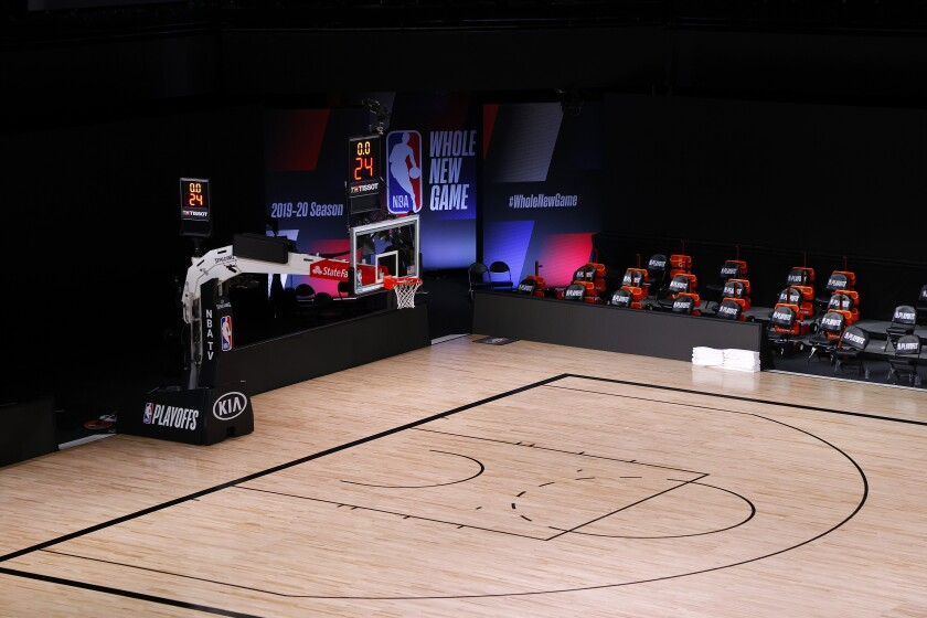 An empty arena inside the NBA bubble in Florida.