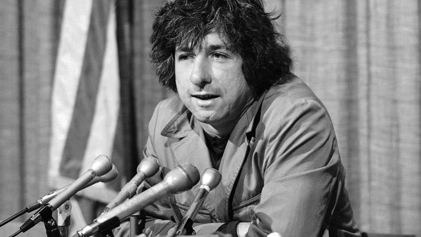 Dec. 6, 1973: Political activist Tom Hayden, husband of Jane Fonda, tells newsmen in Los Angeles that he believes public support was partially responsible for the decision not to send him and others of the Chicago 7 to jail for contempt.