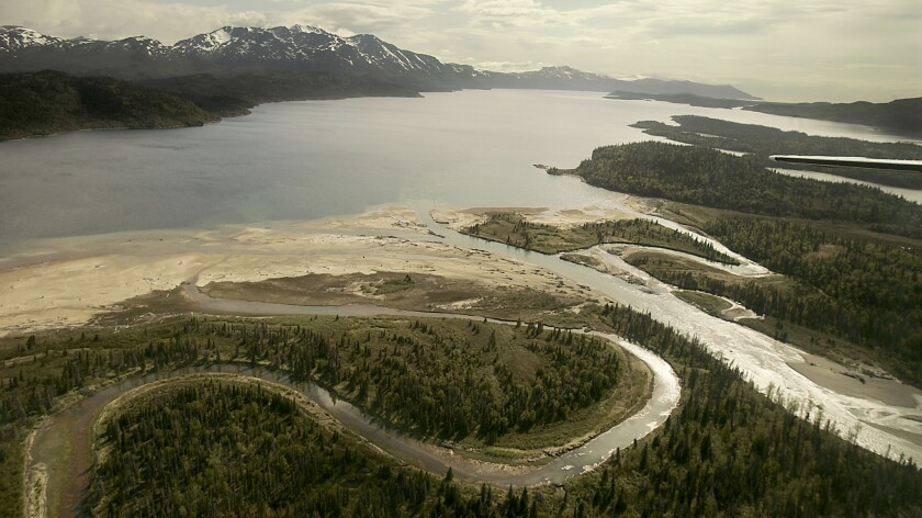 The Pile River flows into Lake Iliamna at the base of the Alaskan Peninsula. The lake and its tributaries are the headwaters of the Bristol Bay region, one of the richest salmon fisheries in the world.