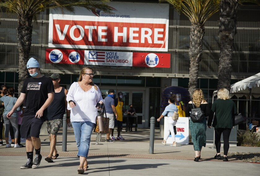 Election Day voting taking place at the San Diego Registrar of Voters on Nov. 3, 2020.