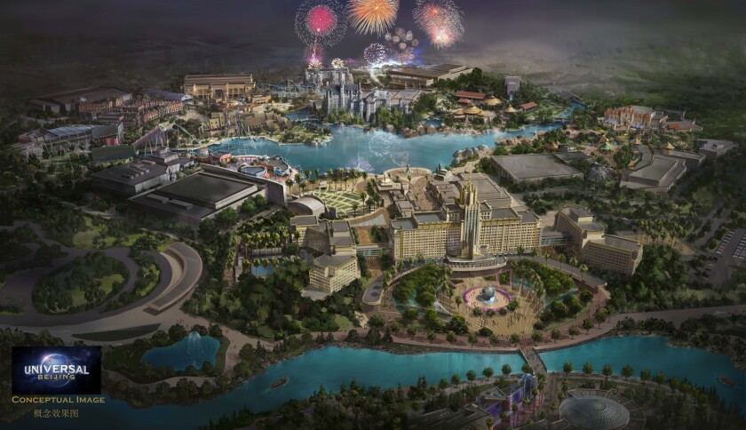 A rendering of the $3.3-billion Universal Studios complex in Beijing, slated for completion in 2019 in an eastern suburb called Tongzhou.