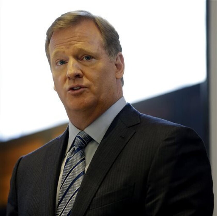 NFL Commissioner Roger Goodell speaks during a news conference at Tiffany & Co. in New York, Wednesday, Sept. 4, 2013. The retrieval of the trophy from Tiffany is one of many events leading up to the Super Bowl in New Jersey on Feb. 2, 2014. (AP Photo/Seth Wenig)
