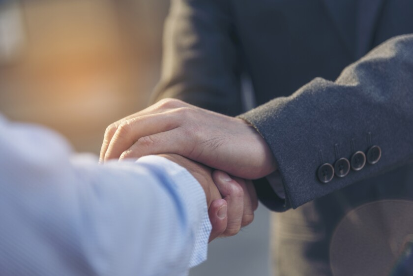 Trust Promise Concept. Honest Lawyer Partner with Professional T