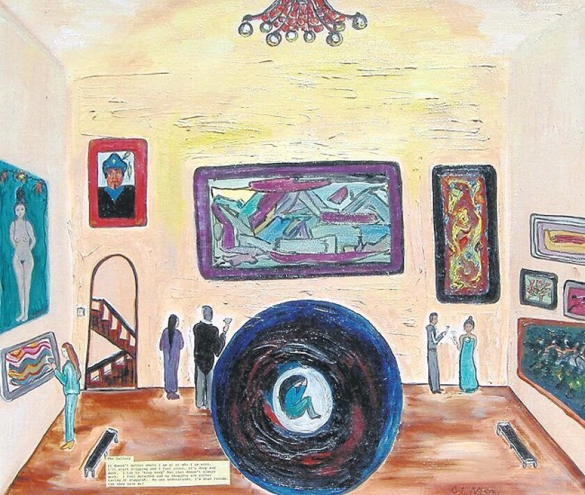 """In Catherine Nelson-Rodriguez's """"The Gallery,"""" she's curled up in a dark ball while everything proceeds as normal around her."""