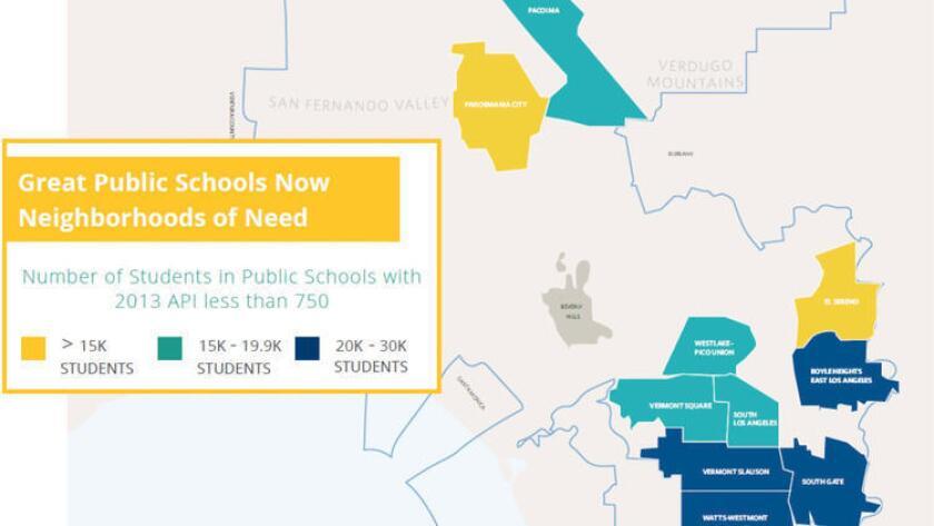 En este extracto del reporte, el grupo Great Public Schools Now identifica 10 vecindarios donde quiere instalar nuevas escuelas públicas (Great Public Schools Now).