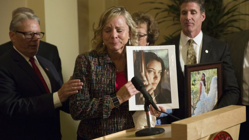 Debbie Ziegler, mother of Brittany Maynard -- a teacher from California who had terminal cancer who moved to Oregon to take advantage of their aid-in-dying law -- speaks to the media after the passage of California's legislation.