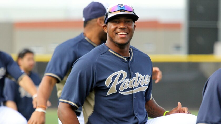 Padres outfielder Rymer Liriano stretches during spring training.