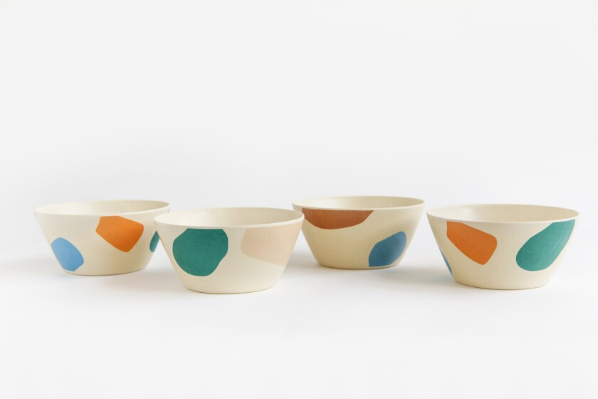 These cereal bowls by designer Xenia Taler are made from bamboo discarded by industrial manufacturers.