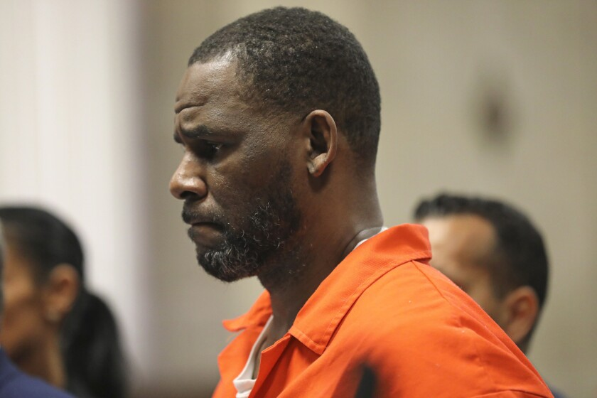 FILE - In this Sept. 17, 2019 file photo, R. Kelly appears during a hearing at the Leighton Criminal Courthouse in Chicago. A federal judge in New York City has denied bail to the R&B singer his sex-abuse case. Kelly didn't attend the hearing on Wednesday, Oct. 2, on a defense motion asking for his release on bond. (Antonio Perez/ via AP Pool, File)
