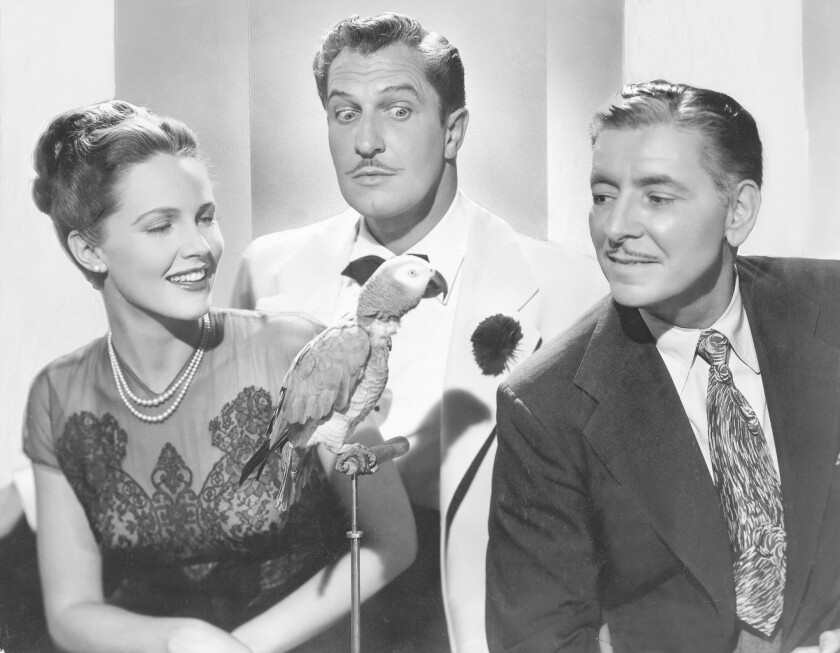 """Barbara Britton, Vincent Price, and Ronald Coleman in """"Champagne for Caesar."""""""