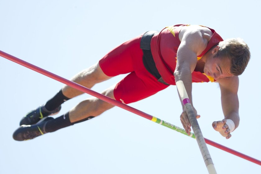 Mt. Carmel senior Kyle Pater captured the pole vault competition with a mark of 16 feet, 4 inches, breaking the San Diego Section championship meet record of 15-9. The section pole vault record is 16-8, set by Derek Scott of El Camino in 2005.