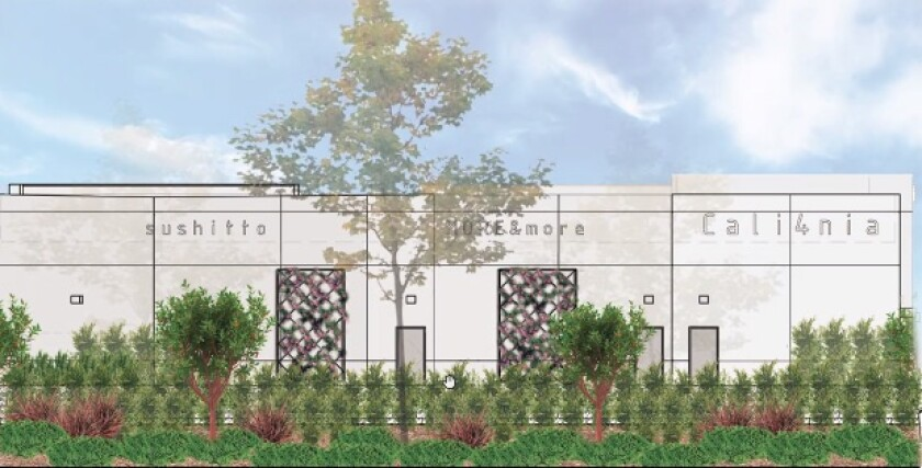 A rendering of the back of the proposed restaurant building by the DoubleTree in Carmel Valley.