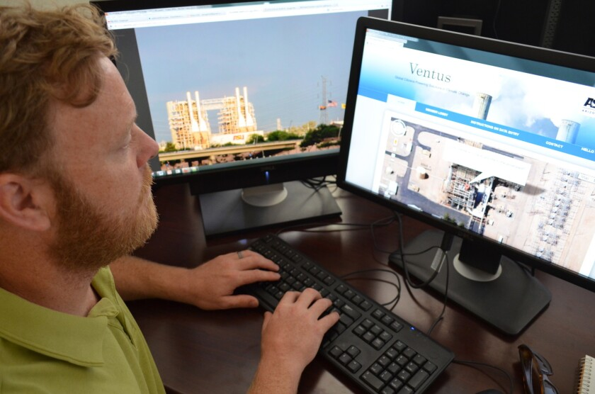 GIS specialist Darragh O'Keefe logs on to the Ventus website to demonstrate its Google maps interface.