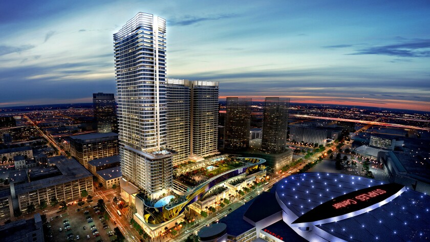 An architect's rendering shows Chinese developer Oceanwide Real Estate Group's upscale project across from Staples Center in downtown Los Angeles.