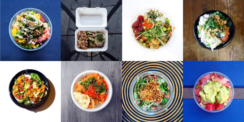 A variety of poke dishes from nine restaurants.