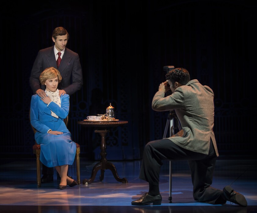 "Jeanna de Waal, Roe Hartrampf and Tomas Matos (from left) in the La Jolla Playhouse production of ""Diana."""